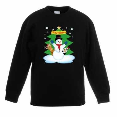 Kersttrui sneeuwpop en vriendjes zwart kinderen