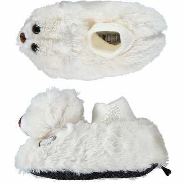 Kinder dieren pantoffels/sloffen witte beer