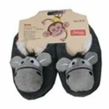 Kinder dieren pantoffels/slofjes ezel