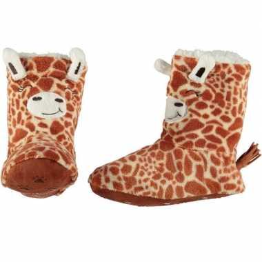 Kinder hoge dieren pantoffels/sloffen giraf