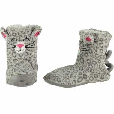 Kinder hoge dieren pantoffels/sloffen poes/kat