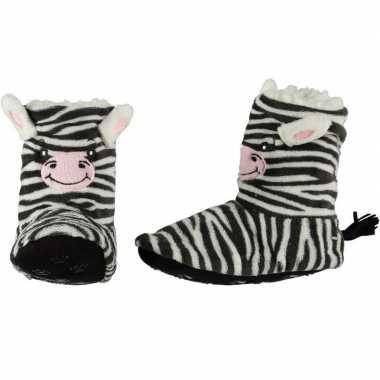 Kinder hoge dieren pantoffels/sloffen zebra