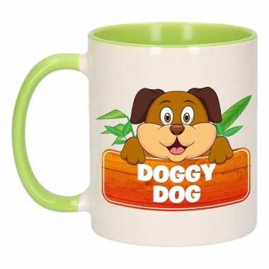 Kinder honden mok / beker doggy dog groen / wit 300 ml