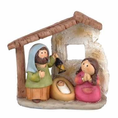 Kinder kerststalletje met kerstfiguren 11 cm