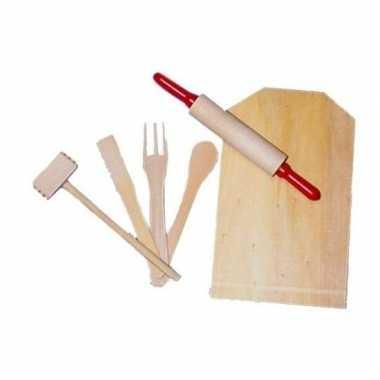 Kinder keuken setje hout 6-delig