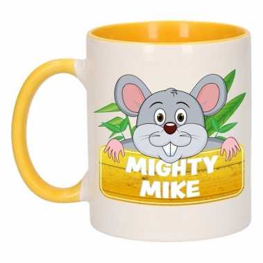 Kinder muizen mok / beker mighty mike geel / wit 300 ml