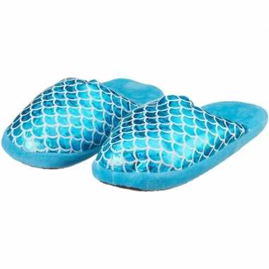 Kinder pantoffels/sloffen zeemeermin blauw slippers