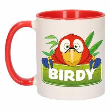 Kinder papegaaien mok / beker birdy rood / wit 300 ml