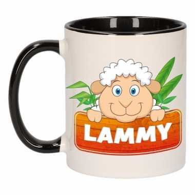 Kinder schapen mok / beker lammy zwart / wit 300 ml
