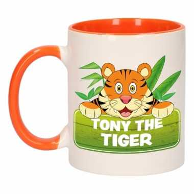 Kinder tijger mok / beker tony the tiger oranje / wit 300 ml