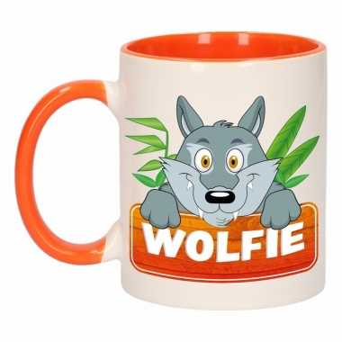 Kinder wolven mok / beker wolfie oranje / wit 300 ml