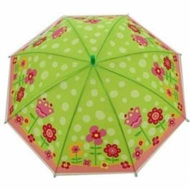 Kinderparaplu bloemen print groen/roze 70 cm