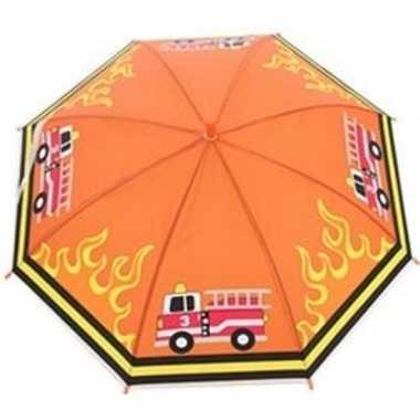 Kinderparaplu brandweerauto print oranje/multi 70 cm