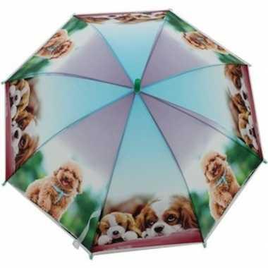 Kinderparaplu honden print paars/blauw 70 cm