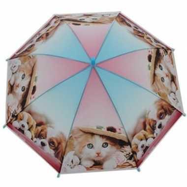 Kinderparaplu katten/poezen/honden print roze/blauw 70 cm