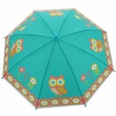 Kinderparaplu uilen print blauw/multi 70 cm