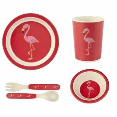 Kinderservies flamingo bamboe set 5-delig