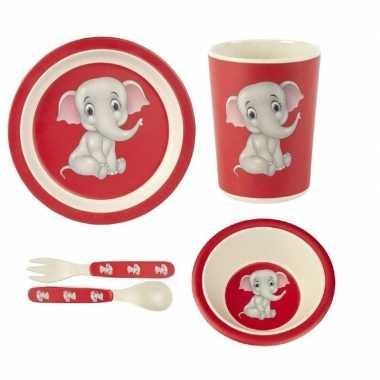 Kinderservies olifant bamboe set 5-delig