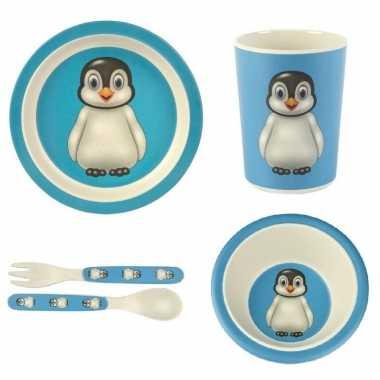 Kinderservies pinguin bamboe set 5-delig