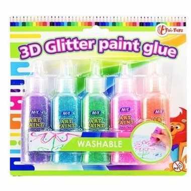 Knutsel lijm met glitters 5 stuks