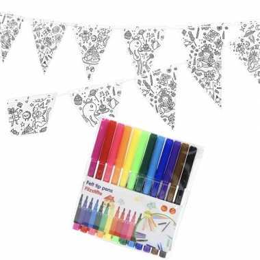 Knutsel papieren vlaggenlijn om in te kleuren 3m incl. stiften