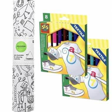 Knutsel stoffen kleurplaat 140 cm incl. stiften voor kinderen