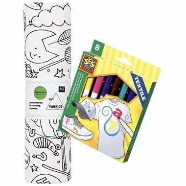 Knutsel stoffen kleurplaat 70 cm incl. stiften voor kinderen