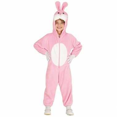 Konijn/haas onesie voor kinderen roze/wit