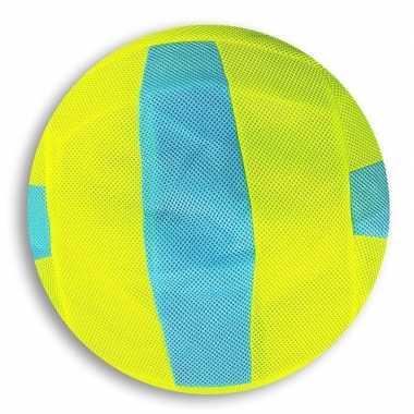 Lime groen/blauw gestreepte mesh speelgoed bal voor kinderen 23