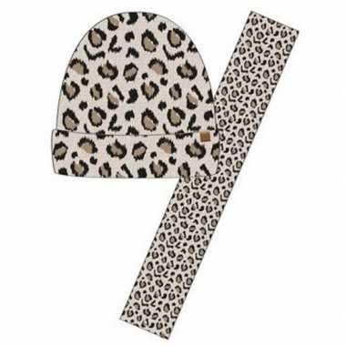 Luxe kinder winterset sjaal + muts luipaard print beige