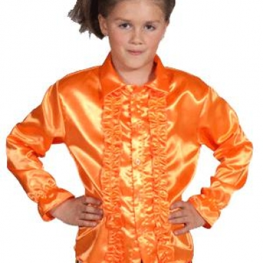 Luxe oranje rouches blouse kinderen