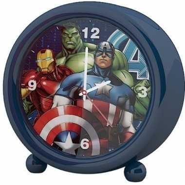 Marvel the avengers kinder wekker/klokje blauw 11,5 x 12 cm