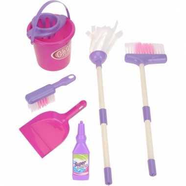 Meisjes speelgoed schoonmaak set 7 delig