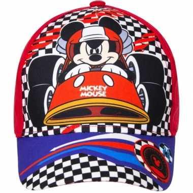 Mickey mouse pet/cap rood voor kinderen