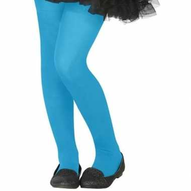 Neon blauwe verkleed panty voor kinderen