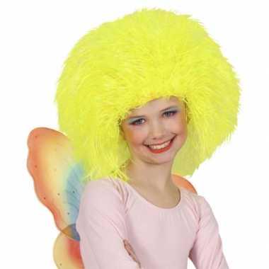 Neon gele afro pruik voor kinderen