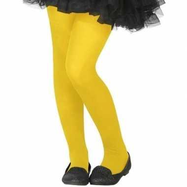 Neon gele verkleed panty voor kinderen