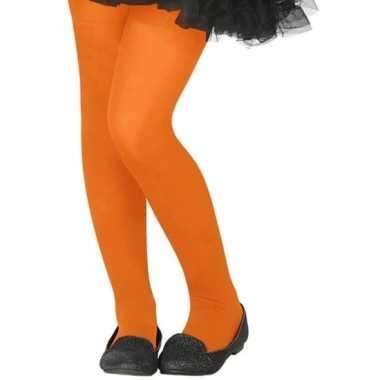 Neon oranje verkleed panty voor kinderen