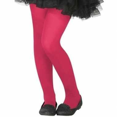 Neon roze verkleed panty voor kinderen