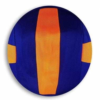 Oranje/blauw gestreepte mesh speelgoed bal voor kinderen 23 cm