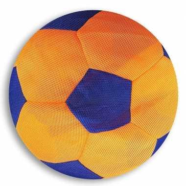 Oranje/blauwe zachte mesh speelgoed bal voor kinderen 23 cm