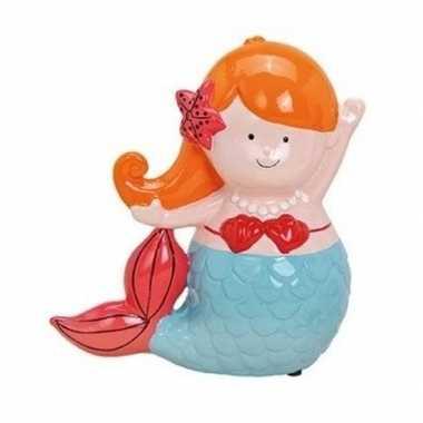 Oranje/blauwe zeemeermin spaarpot 17 cm