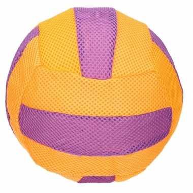 Oranje/paars zachte mesh speelgoed bal voor kinderen 23 cm