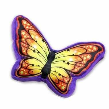 Paars met oranje vlinderkussen 50 cm