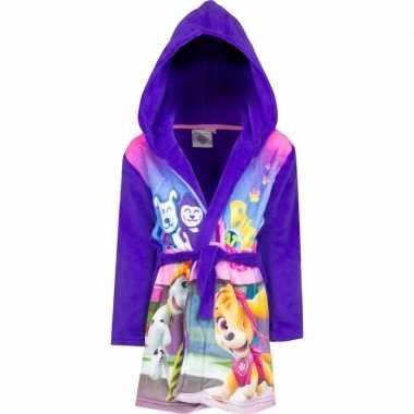 Paarse paw patrol badjas met capuchon voor meisjes