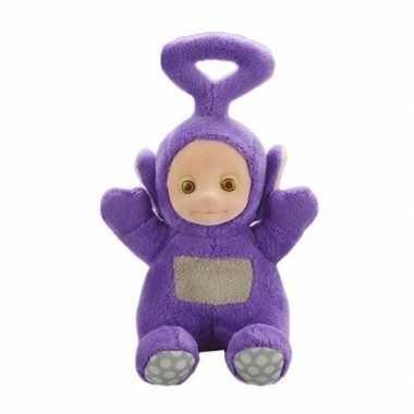 Paarse teletubbie tinky winky knuffel/pop met geluid 20 cm