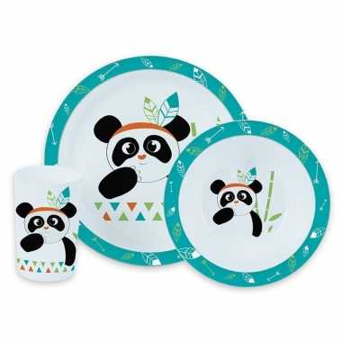 Panda thema plastic kinderservies set 3-delig bord/kom/beker