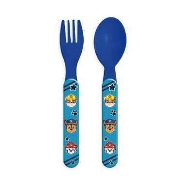 Paw patrol kinderbestek vork met lepel 14 cm