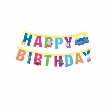 Peppa pig feest wenslijn/letterslinger happy birthday 140 cm