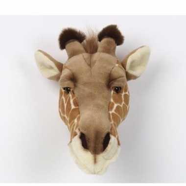 Pluche giraffe kop voor aan de muur